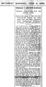Horace Titus Brown Obituary from June 1900 Spokane, Washington