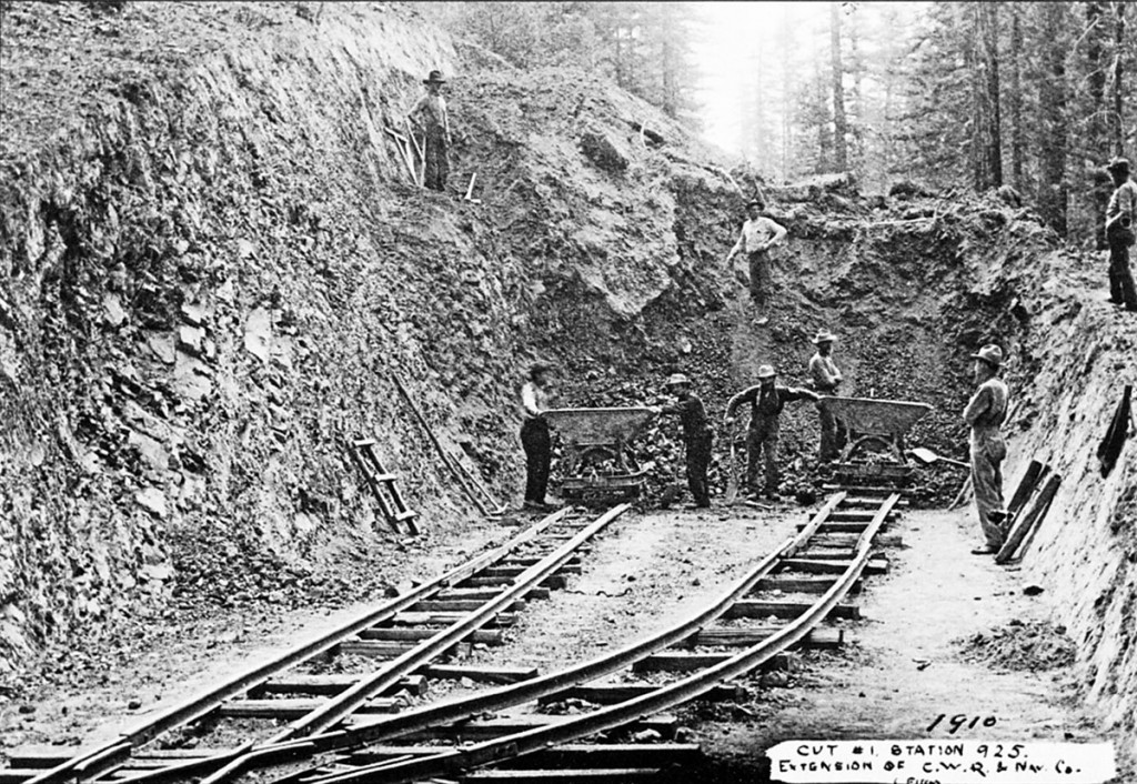 Cut #1, Station 925; Extension of the California Western Railroad & Navigation Company line in 1910 (Photo by W. T. Fitch)