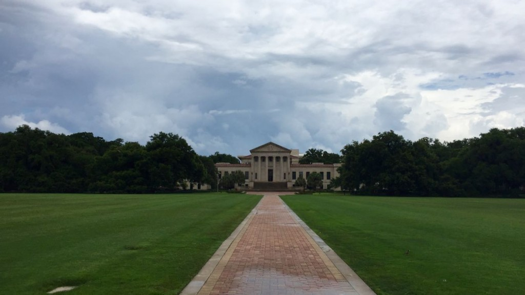 LSU Paul M. Hebert Law Center seen from the Parade Ground