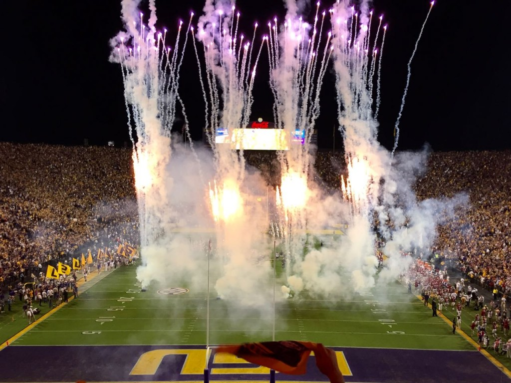 Fireworks display at the start of the 2016 Alabama at LSU football game.