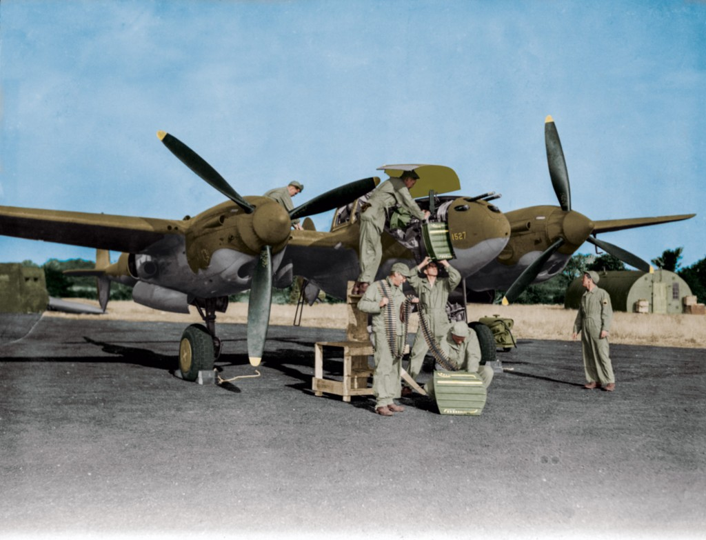 P-38 Lightning (serial 42-67016) of the 77th Fighter Squadron, 20th Fighter Group, at Kings Cliffe Airbase, October 1943 (colorized).